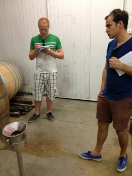Tasting at Yann Chave- Ronan, Anthony and the bucket