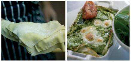 pesto lasagne collage